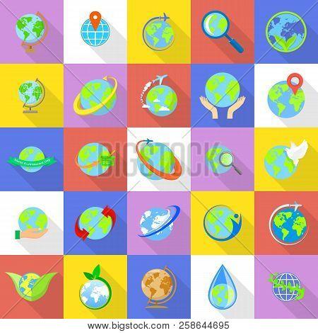 Globe Earth Icons Set. Flat Illustration Of 25 Globe Earth Icons For Web