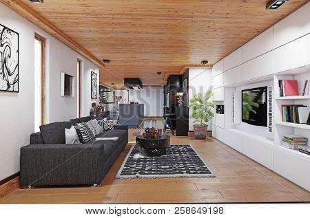modern cottage living area interior. 3d rendering design concept