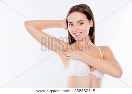 Armpit Epilation Laser Hair Removal Depilation Smooth Clear Skin Concept. Pretty Woman Holding Her A