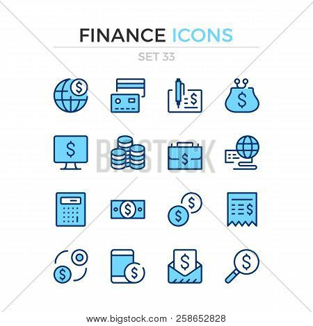 Finance Icons. Vector Line Icons Set. Premium Quality. Simple Thin Line Design. Modern Outline Symbo
