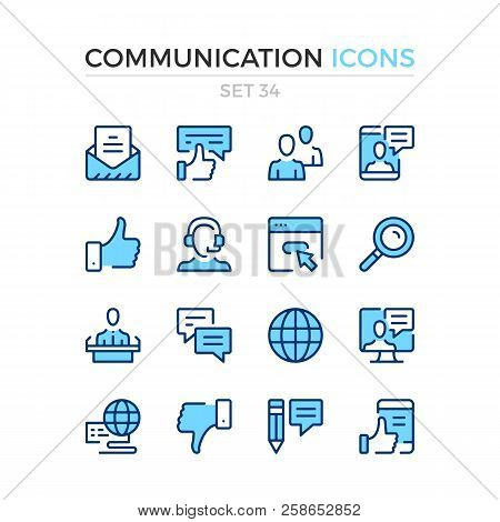 Communication Icons. Vector Line Icons Set. Premium Quality. Simple Thin Line Design. Modern Outline