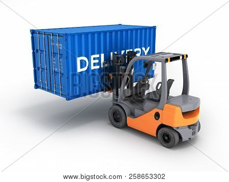 Forklift Handling The Cargo Shipping Container With An Inscription Delivery Isolated On White Backgr