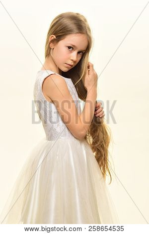 Little Lady. Little Lady In White Dress. Little Lady With Long Blonde Hair. Little Lady Isolated On