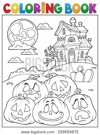 Coloring Book Halloween Pumpkins Pile 2 - Eps10 Vector Picture Illustration.