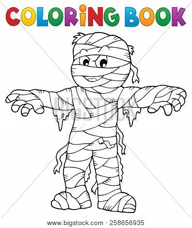 Coloring Book Mummy Theme 1 - Eps10 Vector Picture Illustration.