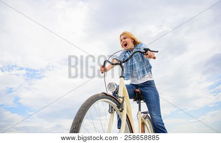 Emotional Woman Enjoy Biking Holidays. Girl Spend Leisure Riding Bicycle. Latest News For Recreation