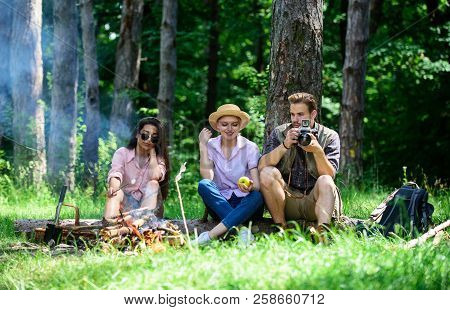 Company Hikers Relaxing At Picnic Forest Background. Spend Great Time On Weekend. Halt For Snack Dur