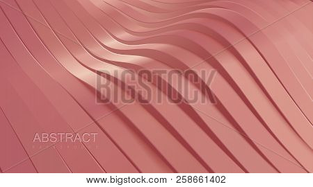 Pink wavy stripes background. Abstract realistic papercut decoration. 3d topography relief. Vector illustration. Cover layout template. poster
