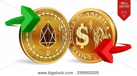 Eos To Dollar Currency Exchange. Eos. Dollar Coin. Cryptocurrency. Golden Coins With Eos And Dollar