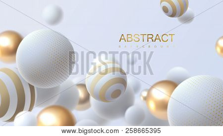 Falling White And Golden Soft Spheres. Vector Realistic Illustration. Abstract Background With 3d Ge