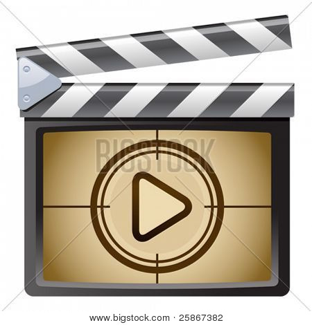 vector illustration of Film Clapboard. Play