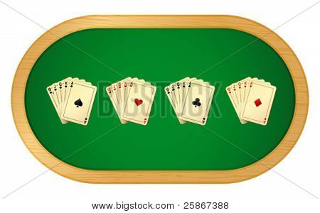 vector illustration of poker table with cards