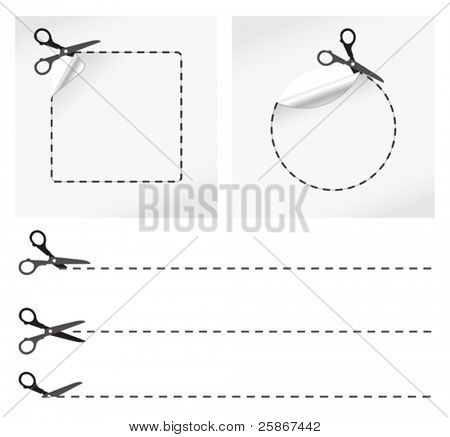 vector illustration of scissors cut stickers