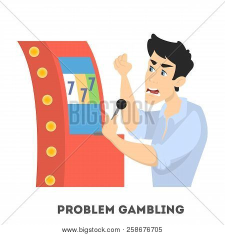 Gambling Addiction. Angry Man Playing In Casino