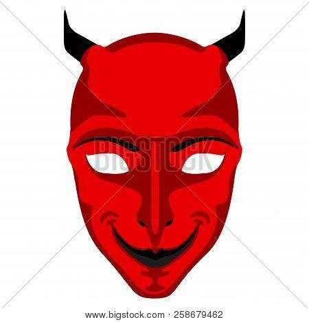 Isolated Halloween Demon Mask. Vector Illustration Design