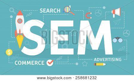 Sem Or Search Engine Marketing Concept Illustration.