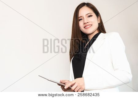 Confidence Asian Business Woman In White Portrait