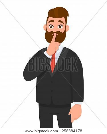 Business man asking silence please. Keep quiet. Man closed  his mouth with finger. Shut up! Emotion and body language concept in cartoon style vector illustration.
