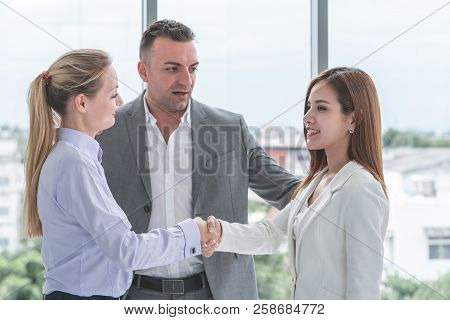 Business Man Is Introducing Partners To Each Other