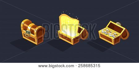 Treasure Chest, Open And Closed Antique Boxes With Coins, Game User Interface Element For Video Comp