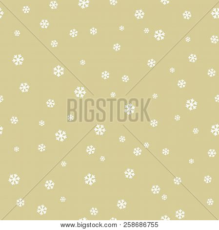 Seamless Gold Pattern With Snowflakes. Vector Holiday Pattern