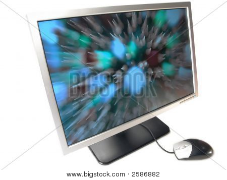 Wide Screen Lcd Computer Monitor And Mouse