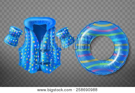 Vector Set With Blue Rubber Ring, Life Jacket And Inflatable Armbands For Kids Isolated On Transpare