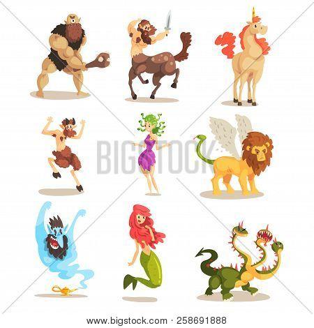 Ancient Mythical Creatures Set, Cyclops, Centaur, Unicorn, Satyr Faun, Medusa Gorgon, Three Headed D