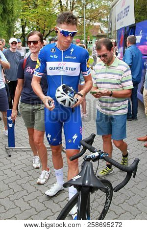 Ruzomberok, Slovakia - September 14, 2018: Niki Terpstra Prepare Before Second Stage Of Road Cycling