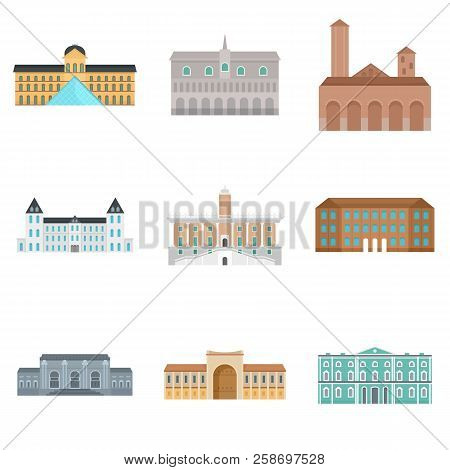 Museum Day Italy Architecture Palace Icons Set. Flat Illustration Of 9 Museum Day Italy Architecture