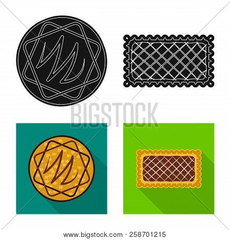 Isolated Object Of Biscuit And Bake Logo. Set Of Biscuit And Chocolate Stock Vector Illustration.