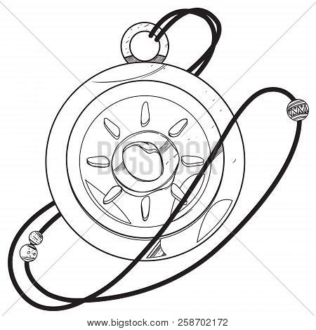 Magic Round Locket. Drawing For Gaming Mobile Applications. Illustration For Coloring.