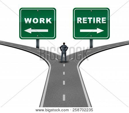 Work Retire Direction Concept As A Worker Making A Decision To Continue Working Or Retiring With 3d
