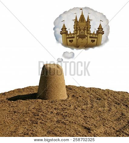 Dream Big Concept Motivational Idea Or Business Development As A Small Sand Pile Dreaming To Become