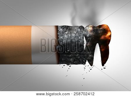 Smoking And Dental Health Problem As A Cigarette Shaped As A Tooth Representing Oral Disease Or Canc