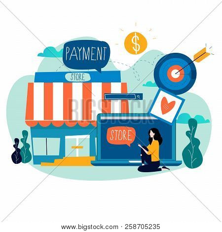 Online Store, Online Shopping, E-shopping, E-commerce, Purchasing Online, Internet Sale Flat Vector