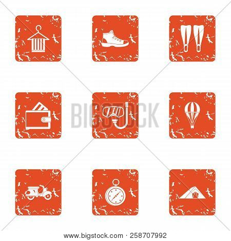 Frolic Icons Set. Grunge Set Of 9 Frolic Icons For Web Isolated On White Background