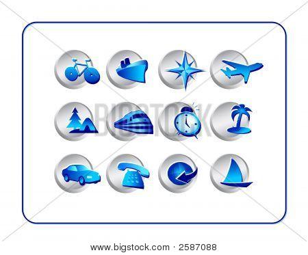 Travel Icon Set: Silver-Blue