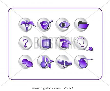 Medical Icon Set 1 - Purple-Silver