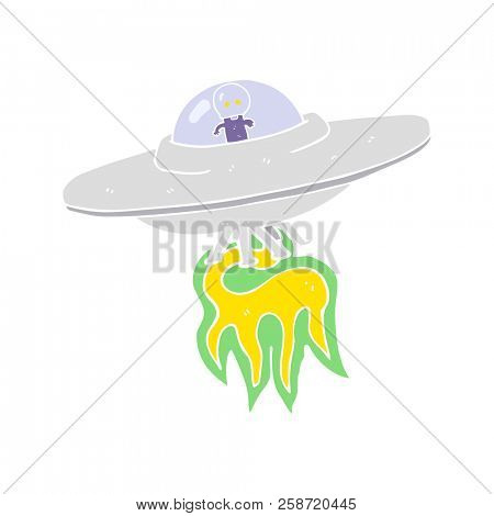 flat color illustration of alien flying saucer