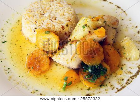 Brazilian Pan-seared fish with Passion fruit sauce and tropical fruit