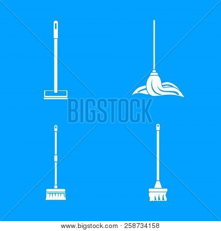 Mop Cleaning Swab Icons Set. Simple Illustration Of 4 Mop Cleaning Swab Vector Icons For Web