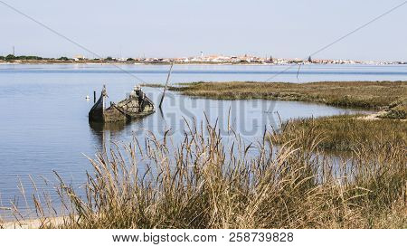 Small And Decrepit Sunken Boat Half-submerged In Estuary, Surrounded By Vegetation. Small Quaint Tow