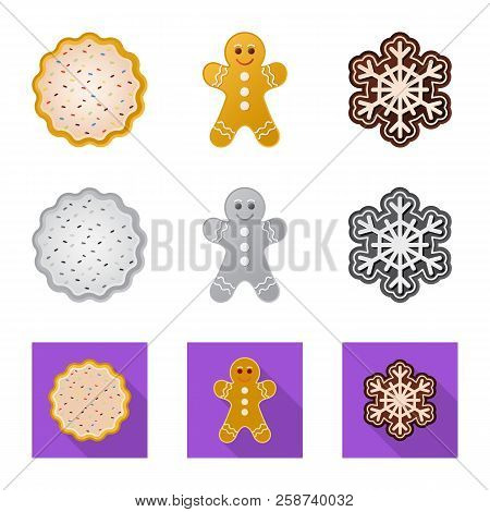 Isolated Object Of Biscuit And Bake Symbol. Collection Of Biscuit And Chocolate Stock Vector Illustr