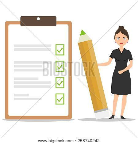 A Female Businessman Holds A Pencil With Completed Tasks And Stamped Notes. Execution Of Tasks And S