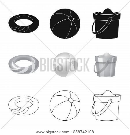 Vector Design Of Equipment And Swimming Sign. Set Of Equipment And Activity Stock Vector Illustratio