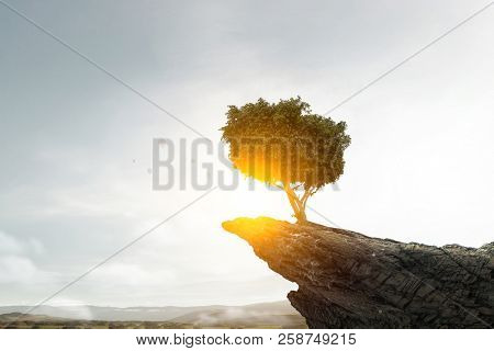Lonely green tree. Mixed media