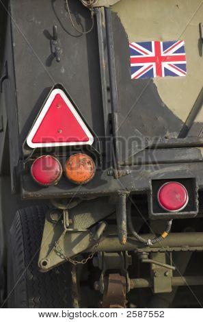 British military trailer - detail (back signalisation lights) poster