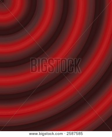 Computer generated illustration of fractaled rings in shades of red and black. poster