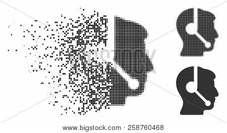 Call Center Operator Icon In Dissolved, Pixelated Halftone And Undamaged Versions. Pieces Are Organi